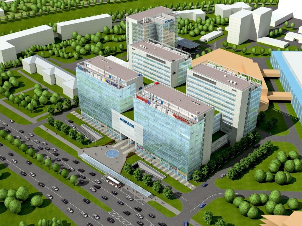 Administrativní a hotelové centrum v Kyjevě na Ukrajině