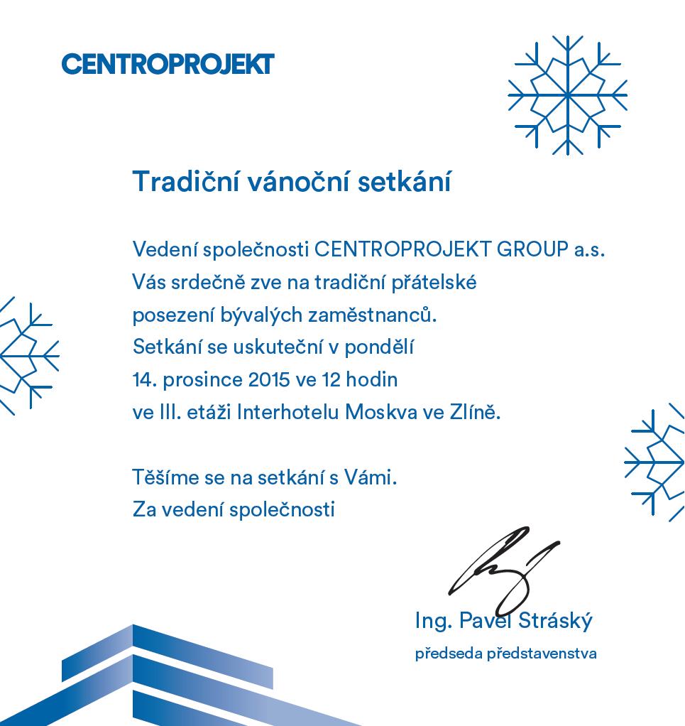 Pozvánka na tradiční vánoční setkání bývalých zaměstnanců Centroprojektu v důchodu