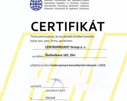 Osvědčení FIDIC CACE pro Centroprojekt